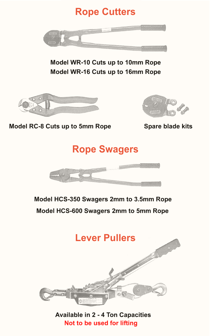 KL Cranes and Lifting Equipment: Cable Pullers, Rope Cutters, Rope Swagers, Lever Pullers